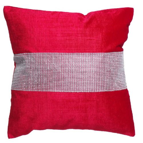STUNNING DIAMANTE VELVET CUSHION RED COLOUR